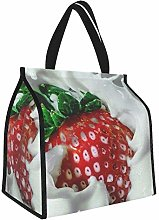 Strawberry Milk Splash Berry Fruit Lunch Tote Bags