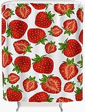 Strawberry Shower Curtain Anti Mould Waterproof