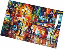 Street at Night Oil Painting Placemats Set of 4