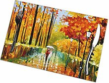 Street with Trees Lover Oil Painting Placemats Set