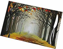 Street with Trees Oil Painting Placemats Set of 4