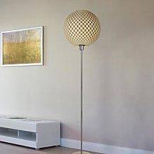 Striking Flechtwerk designer floor lamp, linen