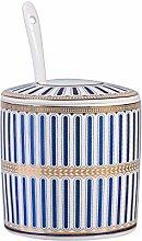 Stripe Blue Sugar Bowl Dispenser Salt Container