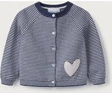Stripe Heart-Pocket Cardigan, Blue Stripe,