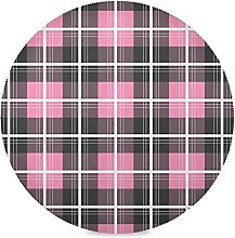 Stripe Pink Art Round Placemats Stain Heat