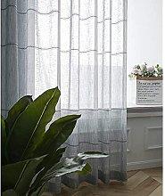 Stripe Semi Transparent Curtain Jacquard Eyelet