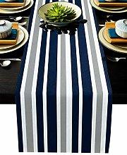Stripe Table Runner-Navy Blue Gray White Cotton