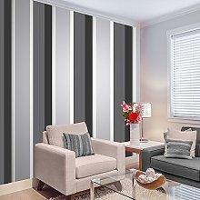 Stripe Wallpaper Bold Charcoal Grey Black White