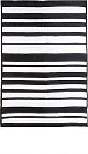 Stripe Waterproof Rug Indoor/Outdoor Black