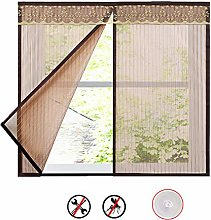 Stripe Window Screen Mesh Curtain,Coffee Magnetic