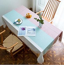 Striped Cotton and Linen Tablecloth Jacquard Table