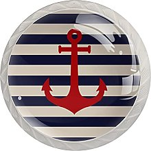 Striped Marine with Anchor, 4-Pack of ABS Resin