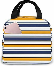 Striped Pattern Insulated Zip Cooler Bag Portable