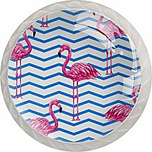 Striped Red Flamingo White Crystal Drawer Handles