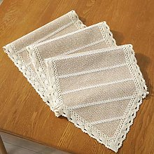 Striped Table Runner, Macrame Cotton Linen Table