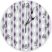 Stripes Purple Gray Modern Wall Clock For Home