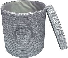 Strong Woven Round Lidded Laundry Storage Basket