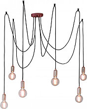 Studio Wall Hung 6 Cluster Pendant Light In Copper