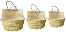 Stuff & Co - Small Gold Seagrass Sequin Basket -