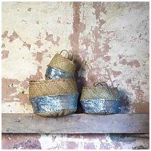 Stuff & Co - Small Silver Seagrass Sequin Basket -