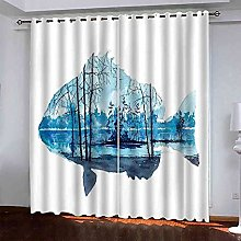 STWREO Bedroom Curtain Drapes Abstract blue fish