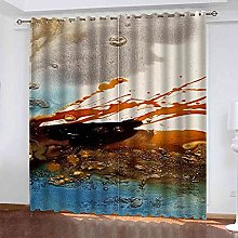 STWREO Bedroom Curtain Drapes Abstract paint art