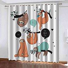 STWREO Bedroom Curtain Drapes Animal sloth 104x
