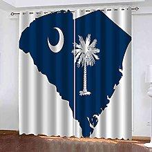 STWREO Bedroom Curtain Drapes Blue coconut tree