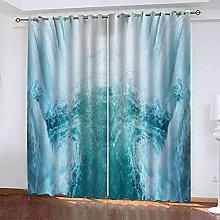 STWREO Bedroom Curtain Drapes Blue waterfall