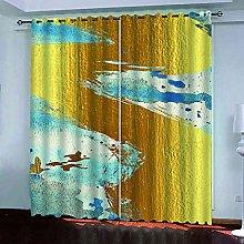 STWREO Bedroom Curtain Drapes Golden graffiti