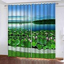STWREO Bedroom Curtain Drapes Lotus pond scenery