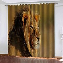 STWREO Bedroom Curtain Drapes Steppe animal lion
