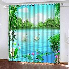 STWREO Bedroom Curtain Drapes Swan Lake scenery