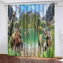 STWREO Blackout Curtain Animal dinosaur 92x 91inch