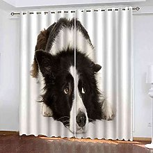 STWREO Blackout Curtain Black and white animal