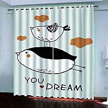 STWREO Blackout Curtain Black and white cartoon