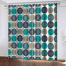 STWREO Blackout Curtain Blue round print 92x