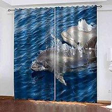 STWREO Blackout Curtain Blue sea whale 92x 91inch