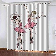 STWREO Blackout Curtain Cartoon dancing girl 92x