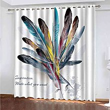 STWREO Blackout Curtain Creative colorful feathers