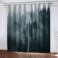 STWREO Blackout Curtain Misty forest landscape 92x