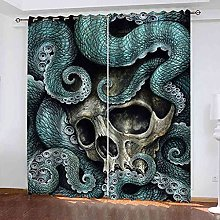 STWREO Blackout Curtain Octopus tentacles skull
