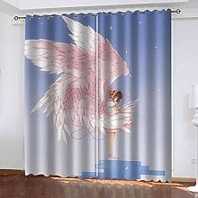 STWREO Blackout Curtain Pink angel girl 92x 91inch