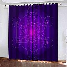 STWREO Blackout Curtain Purple geometric
