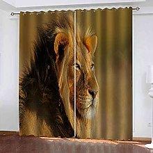 STWREO Blackout Curtain Steppe animal lion 92x