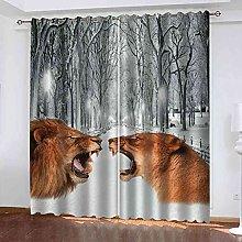 STWREO Blackout Curtain White snow scene animal