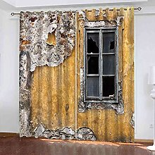 STWREO Blackout Curtain Yellow dilapidated wall