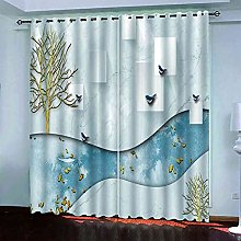 STWREO Blackout Window Curtains Abstract golden