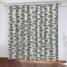 STWREO Blackout Window Curtains Abstract white art