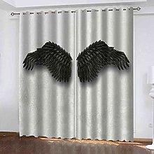 STWREO Blackout Window Curtains Black angel wings
